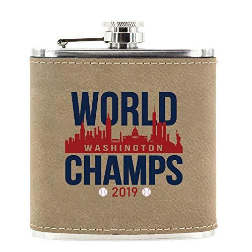 Go Personal Washington World Champs 2019 Baseball Inspired Faux Leatherette Alcohol Hip Flask, 6 Oz. Light Brown Leather Baseball 6 Ounce Flask