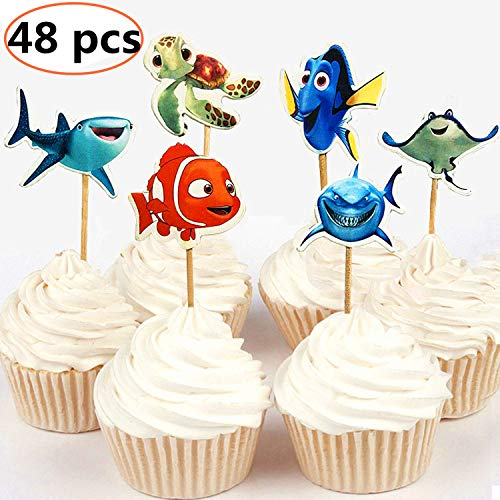 NF orange 24pc Finding Dory Marlin Nemo Destiny Candy Bar Cupcake Topper for Baby Shower Kids Birthday Party Supplies]()