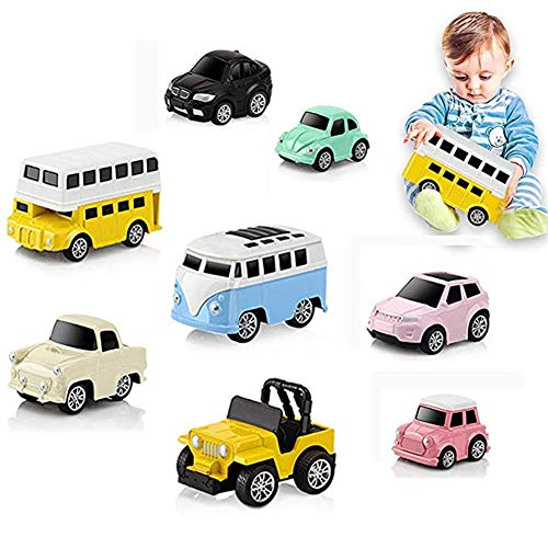 WSXUS Pull Back Vehicles Set , 8 Pack Pull Back and Go Cars Toys for Kids Toddlers, Push and Go Friction Powered Vehicles Alloy Material Mini Pocket Model Cars for Boys and Girls]()