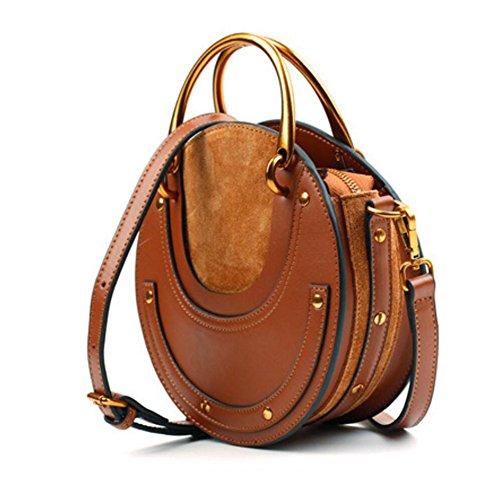 Actlure Women Genuine Cowhide Leather Round Shape Top handle Shoulder Purse Crossbody Bag (brown)
