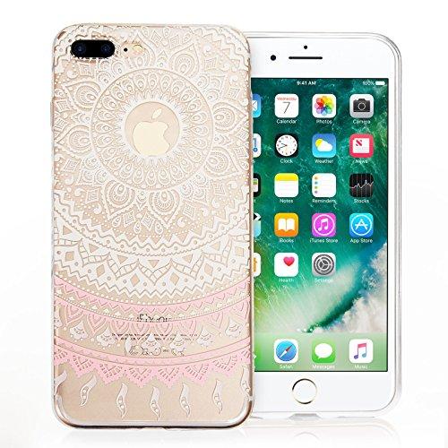 Coque pour iPhone 7 Plus Case & iPhone 8 Plus de chez YouSave Accessories [Mince & Poids-Plume]Avec Motif Mandala en Blanc [Souple & Flexible] sous forme protectrice en Gel TPU