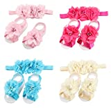 ROEWELL® 4 Sets of Baby's HeadBands/ Hair Bows and Barefoot Flower Feet Accessories (set3)