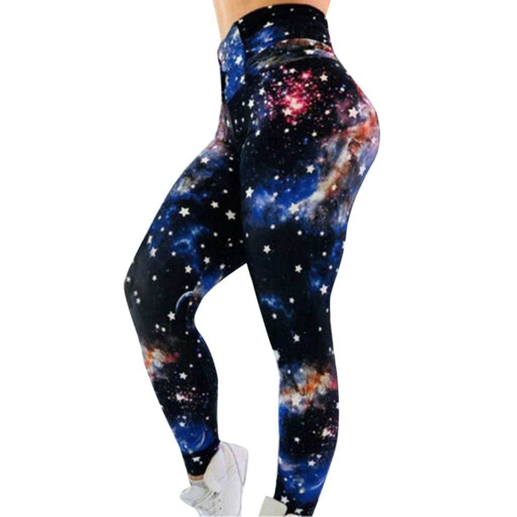 Fitness Pants for Women Casual Starry Sky Print Hollow Out High Waist Fitness Soft Sport Leggings (M, Blue)