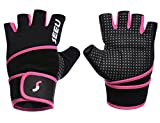 SEEU Womens Wod Gloves with 17.5' Wrist Wrap Support, Pink M
