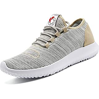 CAMVAVSR Men's Sneakers Fashion Slip on Lightweight Breathable Mesh Soft Sole Walking Running Jogging Shoes for Men Gold Size 12