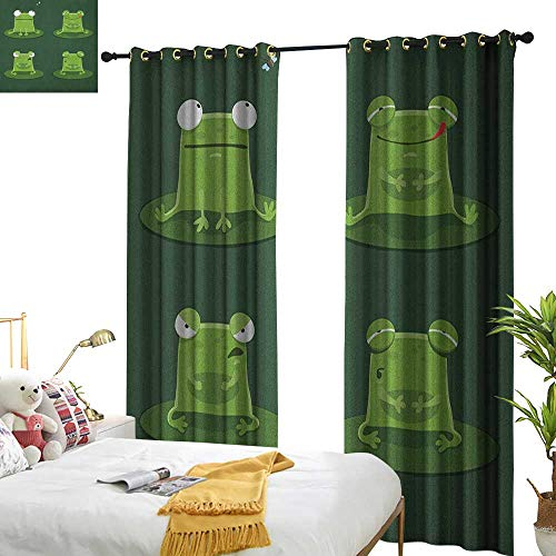 WinfreyDecor Simple Curtain Funny Funny Muzzy Frog on Lily Pad in Pond Hunting Tasty Fly Expressions Cartoon Animal Set of Two Panels W96 x L84 Hunter Green