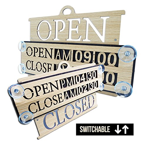 Business Hours Sign Replaceable Numbers Included Changeable Open Closed Board for Store Office Restaurant Cafe Wall Window Display with Strong Suction Cups 14' x 9' Durable Woodmade