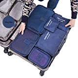 Cocoly 7pcs travel Organizers Packing Cubes Luggage Organizers Compression Pouches navy blue