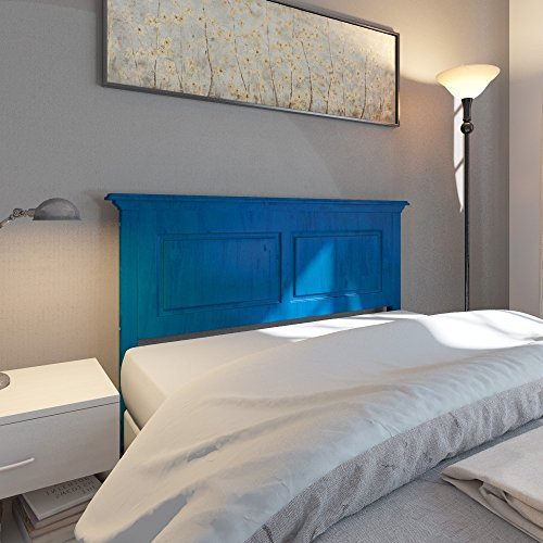 Single Wooden Bed Headboard, Wood Construction, Blue Color, Multiple Size Options + Expert Guide