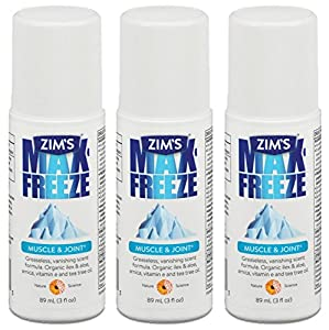 Zim's Max Freeze Muscle & Joint Pain Relief - Roll On - Greaseless, Vanishing Scent - Net Wt. 3 FL OZ (89 g) Per Bottle - Pack of 3