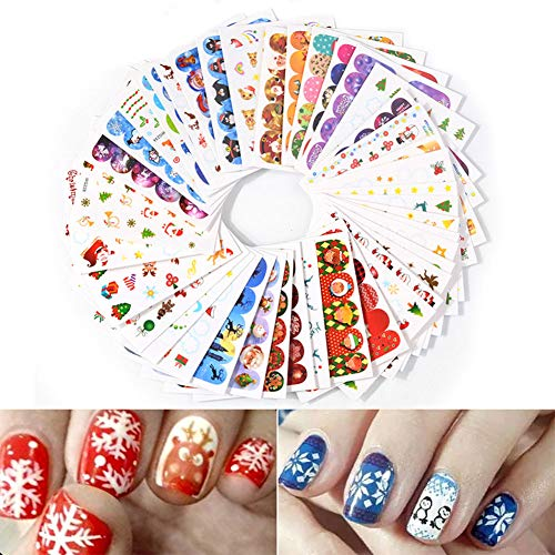 ETbotu 45 Pcs/Set Christmas Water Transfer Nail Sticker Decals 3D Design Self-Adhesive Manicure DIY Nail Art Stickers Decorations Snowflakes Snowmen Halloween Skulls -