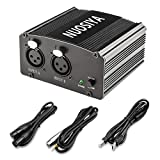 Phantom Power Supply, NUOSIYA 48V Phantom Power Supply, Stable Power Supply, Improved Shielding Technology, Anti-Noise, for Any Condenser Microphone Music Recording Equipment (2F2M, Black) (Color: Black, Tamaño: 2F2M)