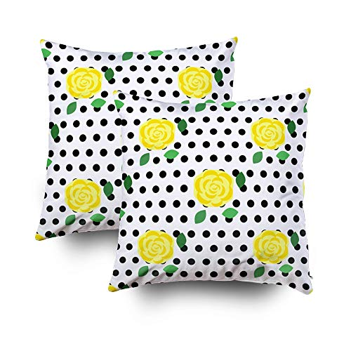 Sofa Pillows Covers,Yellow rose and black dots on a white background Flower pattern in vintage style Print for fabric textile clothes wallpaper Vector illustration EPS 8Capsceoll 20x20 Pack of 2 - Sofa Classic Chenille