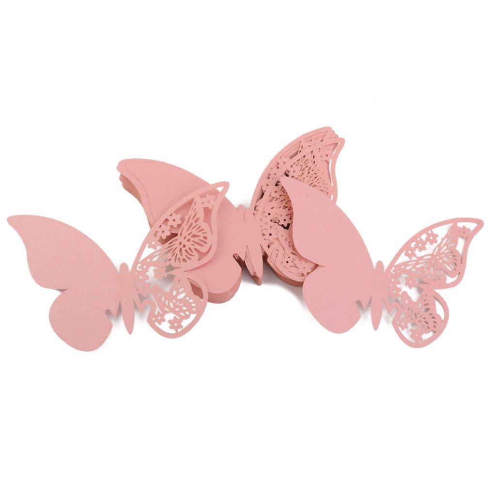 Lot de 50pcs Carte de Verre Marque Place Papillon Décoration de Table pour Cérémonie de Mariage - Rose Générique STK0115014011