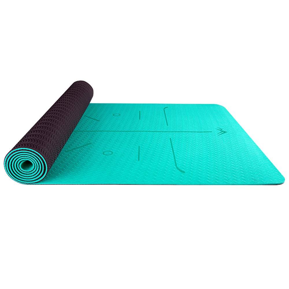 LS-Exercise Fitness Yoga Mat - Beginner Men and Women Yoga Mat Anti-Slip Fitness Mat 6MM Widened Thick TPE Dance Mat [Four Colors Optional] 183 66cm & (Color : Green)