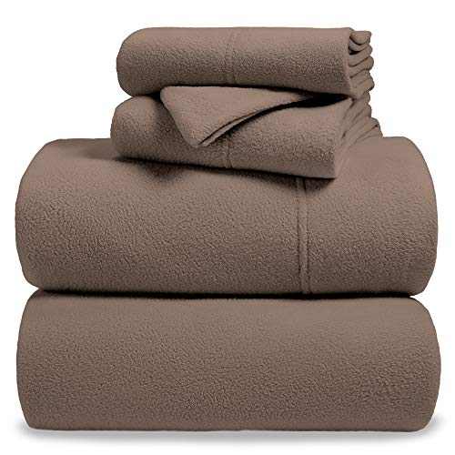 Bare Home Fleece Super Soft Premium Sheet Set - Extra Plush Pill-Resistant All Season Cozy Breathable Hypoallergenic (Queen, Taupe)