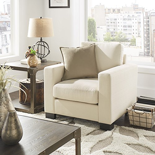 Inspire Q Torrington White Linen Fabric Down Filled Track Arm Accent Chair  By Artisan