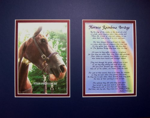 Horse's Rainbow Bridge Matted Poem for Horse Lovers Sympathy Bereavement Memorial Keepsake Gift