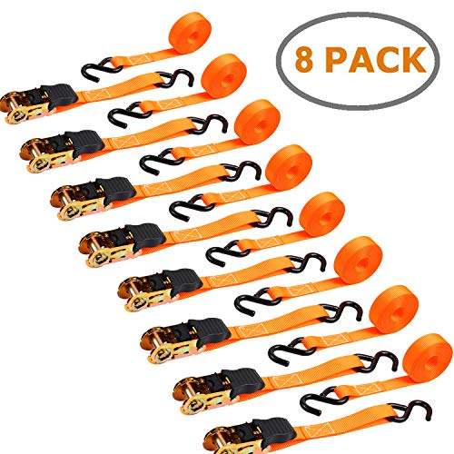 Ohuhu 8 Pack Orange Ratchet Strap, Ratchet Tie Downs Logistic Straps - 15 Ft - 500 lbs Loatd Cap with 1500lb Breaking Limit - Cargo Straps for Lawn Equipment, Moving Appliances, Motorcycle