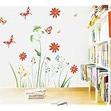 Wandtattoo Bunte Blume Pflanzen Schmetterling Wandmotiv Bordüren Schlafzimmer Sofa im Wohnzimmer TV Wandaufkleber