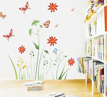 Wandtattoo Bunte Blume Pflanzen Schmetterling Wandmotiv Bordüren ...