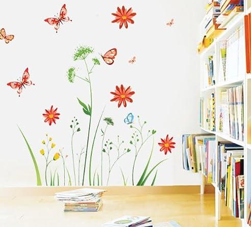 Elegant Wandtattoo Bunte Blume Pflanzen Schmetterling Wandmotiv Bordüren  Schlafzimmer Sofa Im Wohnzimmer TV Wandaufkleber