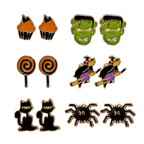 XOCARTIGE 6 Pair Halloween Earrings Set Frankenstein Spider Cupcake Broomstick Lollipop Cat Stud Earrings for Girls (B Skull Cat) for $<!--$9.39-->