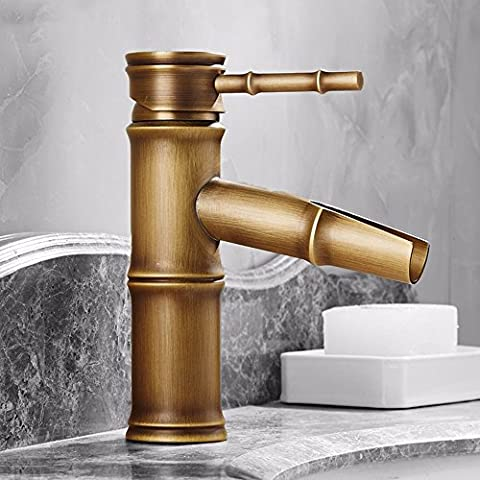 AWXJX Full Copper European Style Retro Style Hot And Cold Washbasin Single Hole Bathroom Bamboo Style Sink Faucet (20.8 - Three Hole Wall Mount Washbasin