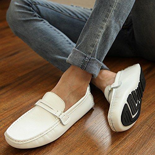 Respirable Zapatos Conducción Studio Mocasines SK Blanco Calzado Barco Hombre de de Zapatos Del Cuero 6Ppana