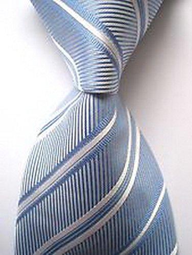 (Scott Alania® New Classic Striped Sky Blue White JACQUARD WOVEN 100% Silk Men's Tie Necktie)