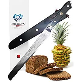 "DALSTRONG Serrated Bread Knife - 10.25"" - Shogun Series - Damascus - Japanese AUS-10V Super Steel - Sheath Included 4 A Dalstrong culinary revolution combining outstanding and award-winning craftsmanship, cutting-edge breakthrough technology, awe-inspiring design, and the absolute best materials available. Peak performance never looked so good to you or your wallet. Unrivalled Performance: Ruthlessly sharp scalpel like edge is hand finished to a mirror polish within a staggering 8-12°degree angle using the traditional 3-step Honbazuke method. Nitrogen cooled for enhanced harness, flexibility and corrosion resistance. Full tang for superb robustness and triple riveted for even more resilience. Dalstrong Power: An ultra sharp AUS-10V Japanese super steel cutting core at 62+ Rockwell hardness for extraordinary performance and incredible edge retention is painstakingly sandwiched between 66 layers of premium high-carbon stainless steel, ensuring exceptional strength, durability and stain resistance. Perfectly balanced, the precisely tapered blade minimizes surface resistance for buttery smooth cut through and enhanced non-stick properties."