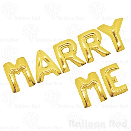 40 Inch Giant Jumbo Helium Foil Mylar Balloons Bouquet (Premium Quality), Glossy Gold, Letters MARRY ME -