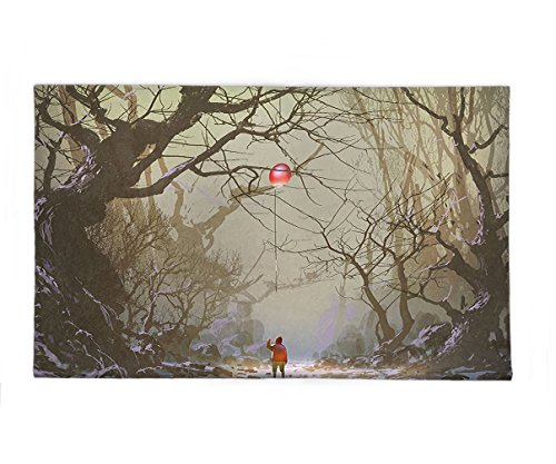 Interestlee Fleece Throw Blanket Fantasy Art House Decor Boy Looking Up Red Balloon Stuck on Tree Branch in Foggy Forest Picture Brown (Cat Stuck Tree Christmas In)