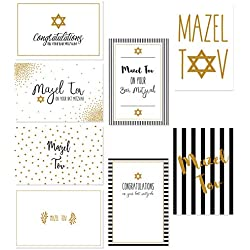 "Assorted Designer Jewish Greeting Cards - Bat Mitzvah, Bar Mitzvah Mazel Tov - Includes 8 Gold Foil Designs Star David Embellishment - Box Set - Includes 36 Cards & Envelopes - 4"" x 6"""