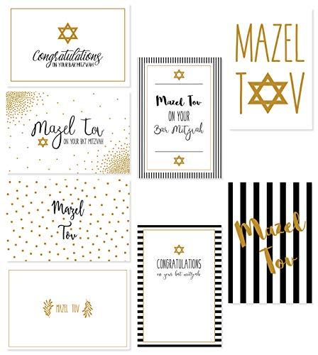 Blank Bar Mitzvah Invitations - Assorted Designer Jewish Greeting Cards - Bat Mitzvah, Bar Mitzvah, and Mazel Tov - Includes 8 Gold Foil Designs with Star of David Embellishment - Box Set - Includes 36 Cards & Envelopes - 4