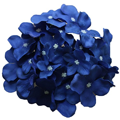 Calcifer 30 Pcs Artificial Hydrangea Flowers Heads for Home Garden Wedding Party Decoration Bohemia Hat Decor (Royal Blue)
