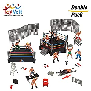 Ultimate 32-Piece Wrestling Playset for Kids | WWE Wrestler Warriors Toys with Ring & Realistic Accessories | Fun Miniature Fighting Action Figures | Includes 2 Rings Idea