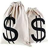 Gejoy 2 Pieces Money Bags Drawstring Bag Canvas Bag with Dollar Sign Symbol for Toy Favor Bank Robber Themed Party, 30 by 40 cm