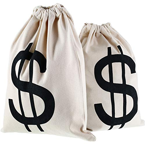 Gejoy 2 Pieces Money Bags Drawstring Bag Canvas Bag with Dollar Sign Symbol for Toy Favor Bank Robber Themed Party, 30 by 40 cm]()