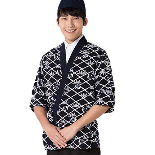 XINFU Sushi Chef Uniform 3/4 Long Sleeve Hotel Japanese Restaurant Kitchen Chef Coat