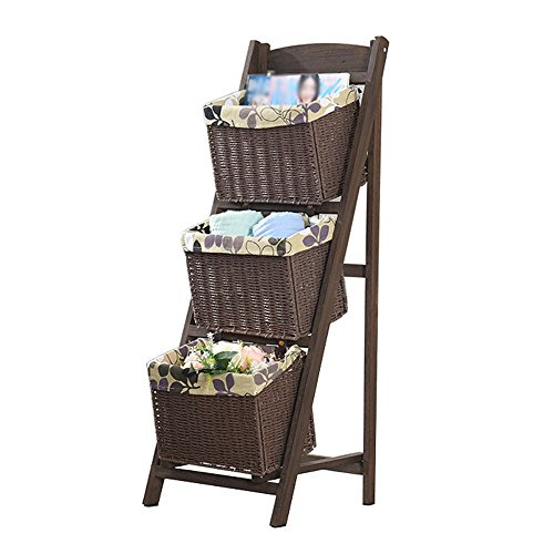 Magazine Rack Ladder (SJ Shelf 3 Layers Of Landing Style Solid Wood Ladder-style Magazine Storage Rack Storage Basket European Style Living Room Shelf, 3 Bamboo Rattan Baskets Size 3748105cm ( Color : Charcoal color ))