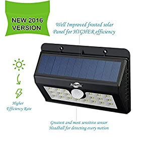 [4-Pack]Super Bright 20 Big LED Motion Sensor SOLAR Powered Wireless, Waterproof. Security, Wall Outdoor,Garden, Ponds, Accent Lighting Pond Decor Lamp Finials Lights Three Smart Modes