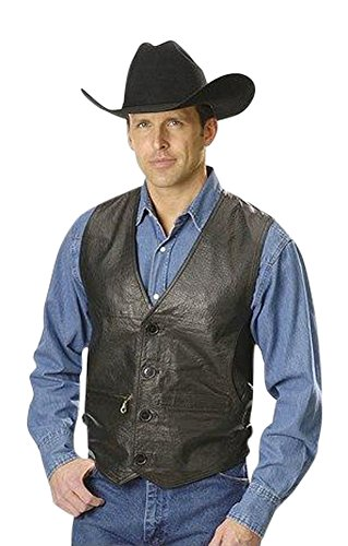 Men Lambskin Leather Vest (X-Large) (Lamb Western Vest)