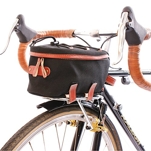 Surly Touring Bike - Zimbale Bicycle Waterproof Canvas Front Rackbag - 2 Liter Capacity - Black