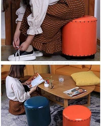 YUMUO Tabourets Ottomans Rembourrés Faux Cuir Petite Chaussure Banc Pied Maison Salon Chambre Repose Tabouret (Couleur: Bleu)