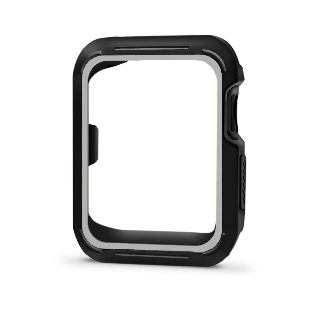 Compatible with Apple Watch Case 44mm 42mm 40mm 38mm, Vitech Slim Soft Flexible TPU Lightweight Protective Protector Bumper Case for iWatch Series 4 Series 3 Series 2 Series 1 (Black-Gray, 38mm) by ViTech
