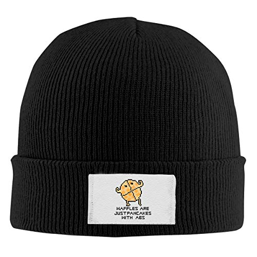 Waffles are Just Pancakes with Abs Men's and Women's Noble Knit Hat Black Super Soft & Warm Velour Lined