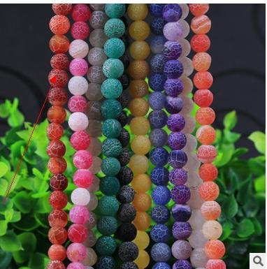 Lamdoo Nature Stone Beads Frost Cracked Fire Dragon Veins Agate Round Beads For Jewelry Making 6 8 10 12mm Pick Size ()