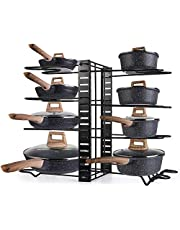 Lawei Pot Rack Organizer - 8 Tiers Pots and Pans Organizer with 3 DIY Methods, Adjustable Pot Lid Holders, Pan Rack for Kitchen Counter and Cabinet
