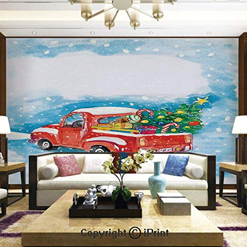 Wallpaper Nature Poster Art Photo Decor Wall Mural for Living Room,Vintage Red Truck in Snowy Winter Scene with Tree and Gifts Candy Cane Kids,Home Decor - 100x144 inches